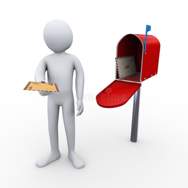 3d mężczyzna listu dostawa i otwarta skrzynka pocztowa royalty ilustracja