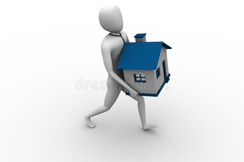 3d mężczyzna mienia dom ilustracji