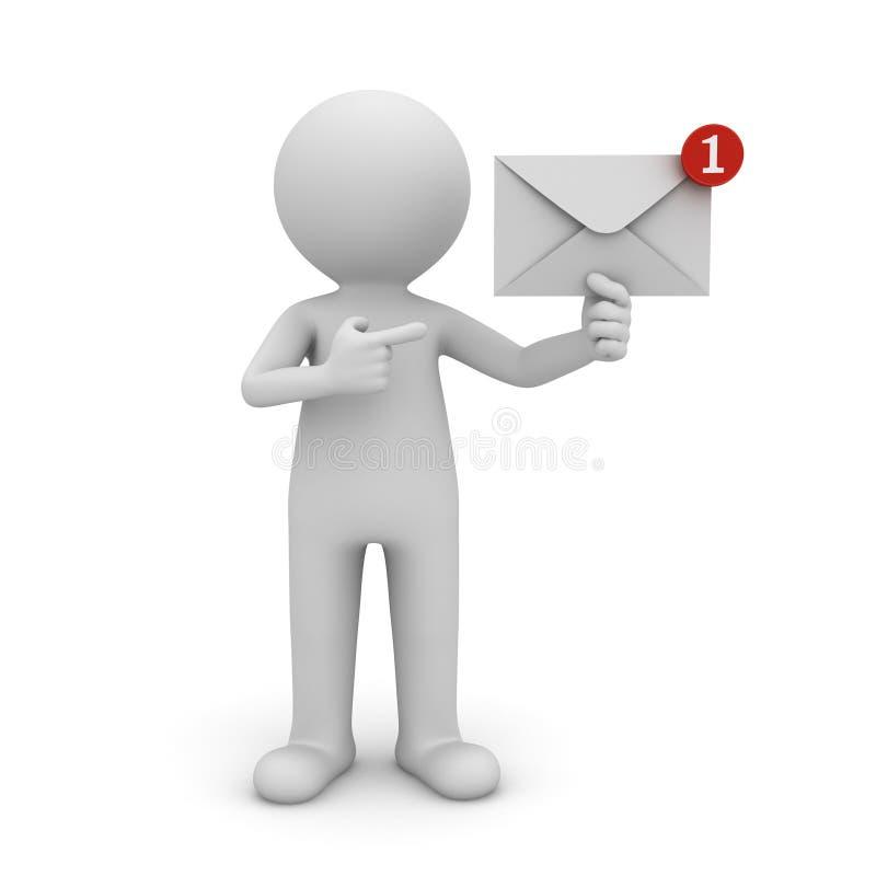 3d mężczyzna mienia E-mailowy powiadomienie w jego ręki jeden nowym e-mailu w inbox royalty ilustracja