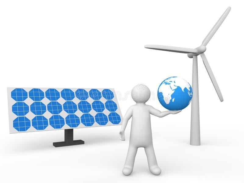 3d mężczyzna mienia ziemia z panel słoneczny i silnikiem wiatrowym royalty ilustracja