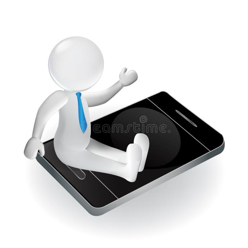 3d mężczyzna na smartphone biali ludzie royalty ilustracja
