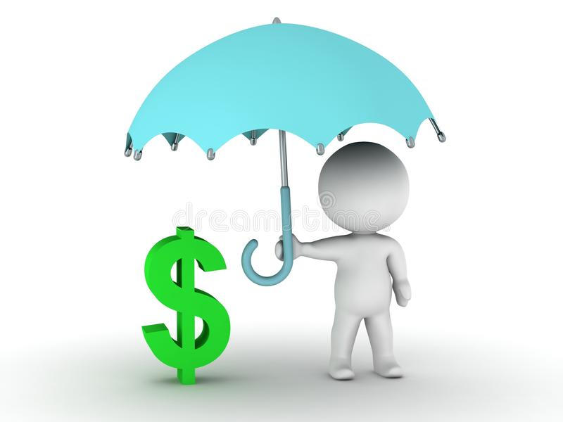 3D mężczyzna ochrania dolarowego symbol z parasolem - pieniężnej ochrony pojęcie