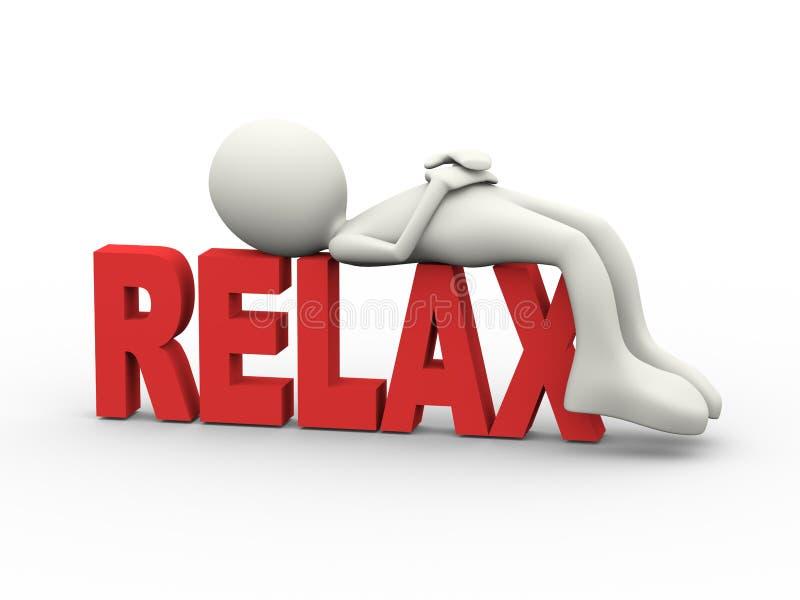 3d mężczyzna odpoczywa na słowie relaksuje ilustracja wektor