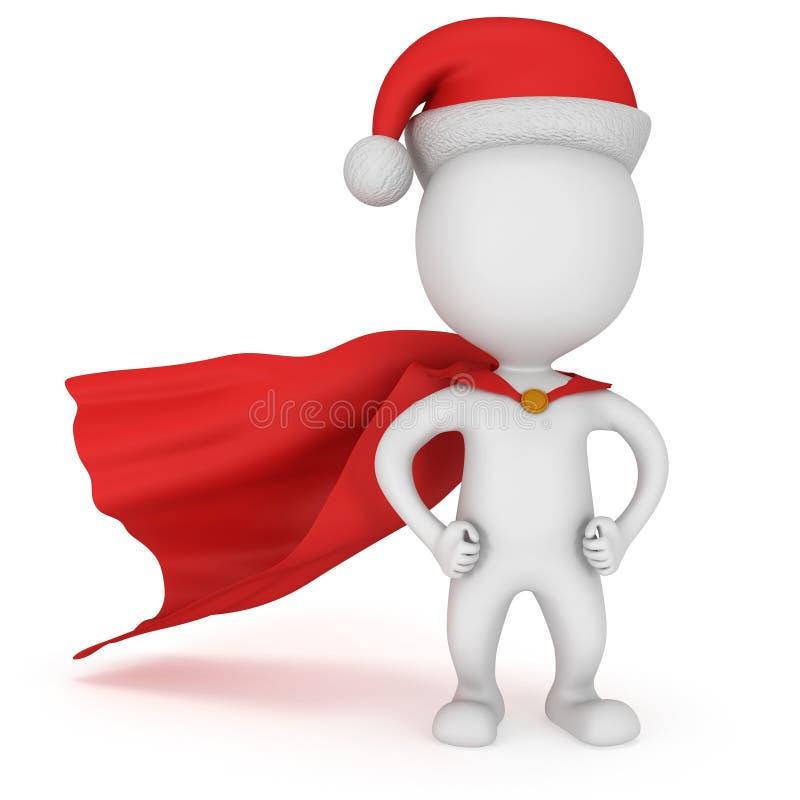 3d mężczyzna - odważny bohater Santa Claus z rękami akimbo ilustracja wektor