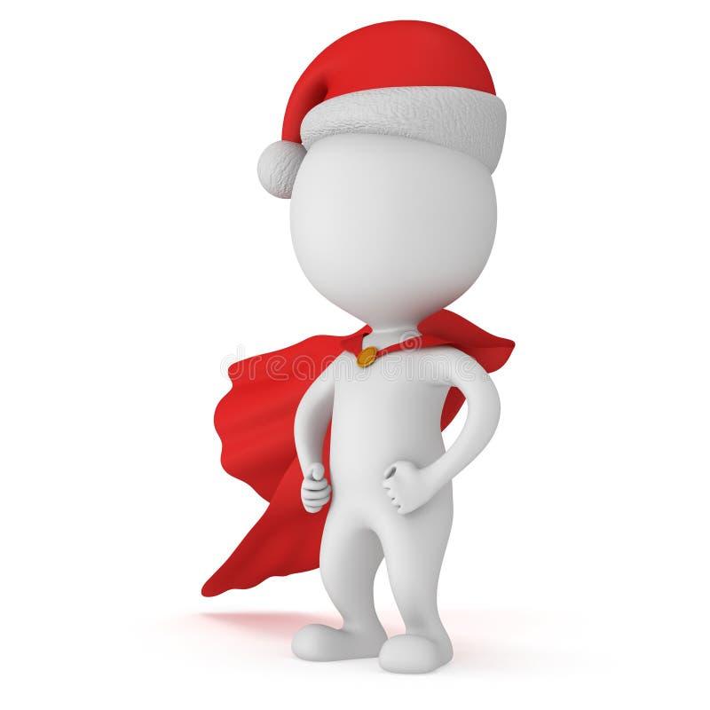 3d mężczyzna - odważny bohater Santa Claus z rękami akimbo royalty ilustracja