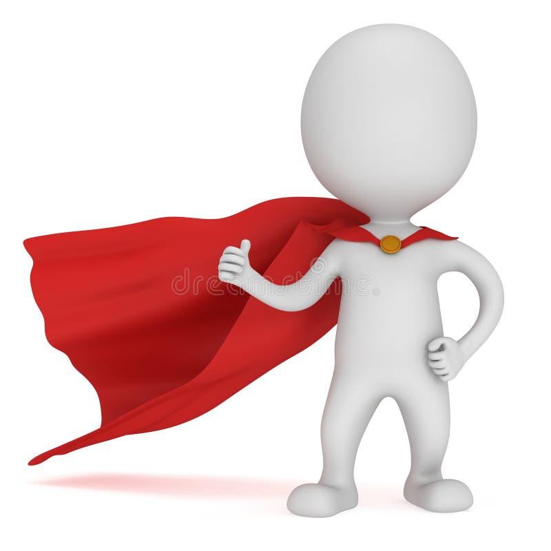 3d mężczyzna - odważny bohater z czerwoną peleryną ilustracji