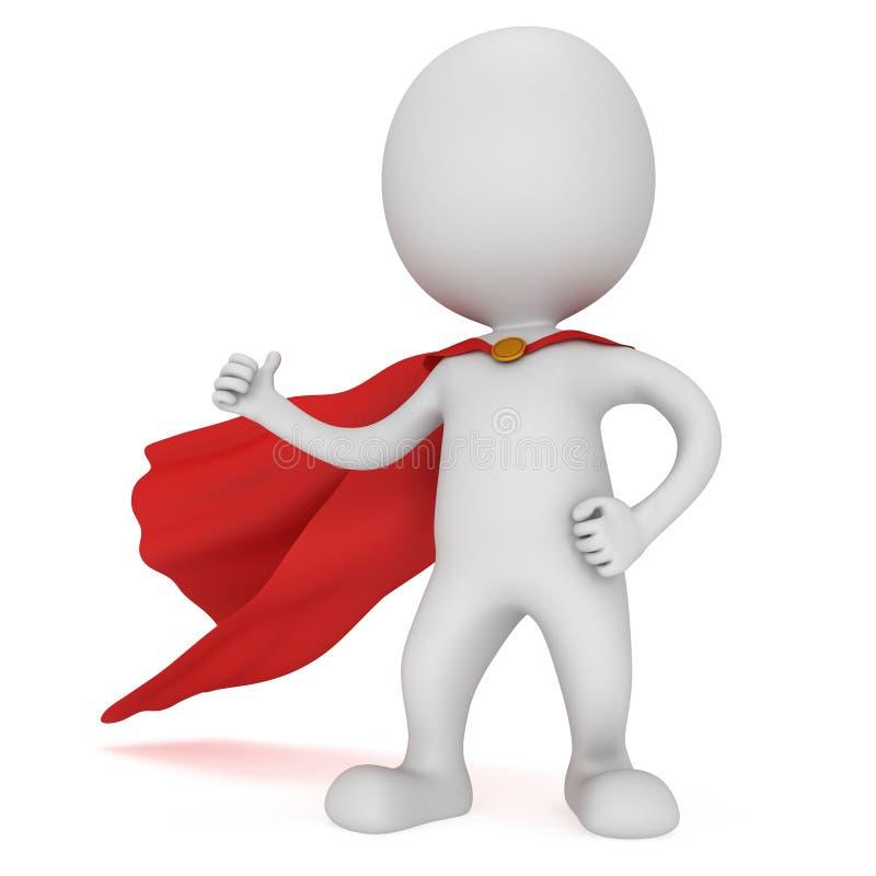 3d mężczyzna - odważny bohater z czerwoną peleryną royalty ilustracja