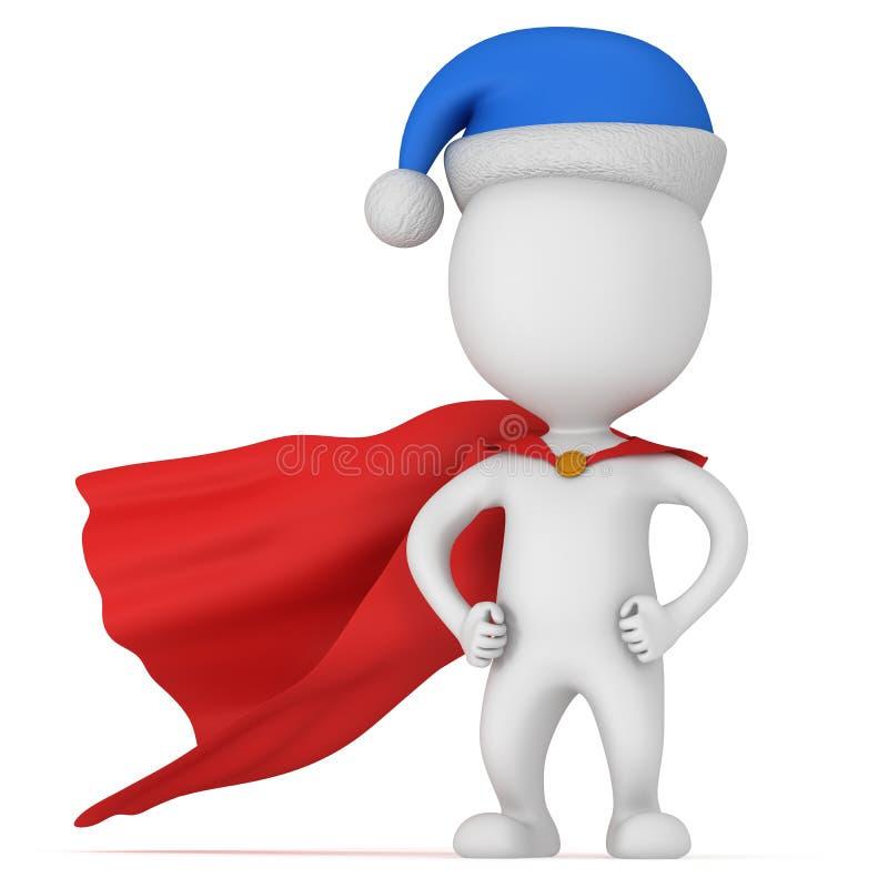 3d mężczyzna - odważny bohater z Santa Claus kapeluszem royalty ilustracja