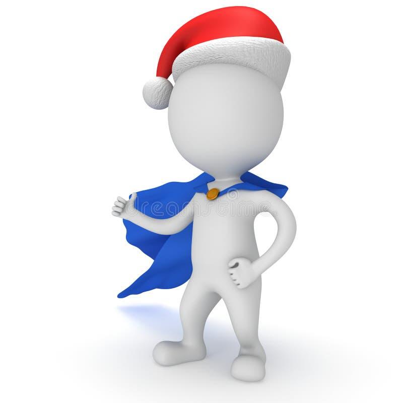 3d mężczyzna - odważny bohater z Santa Claus kapeluszem ilustracja wektor