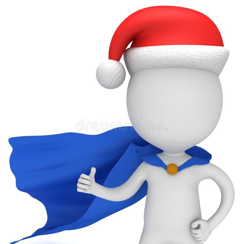 3d mężczyzna - odważny bohater z Santa Claus kapeluszem ilustracji