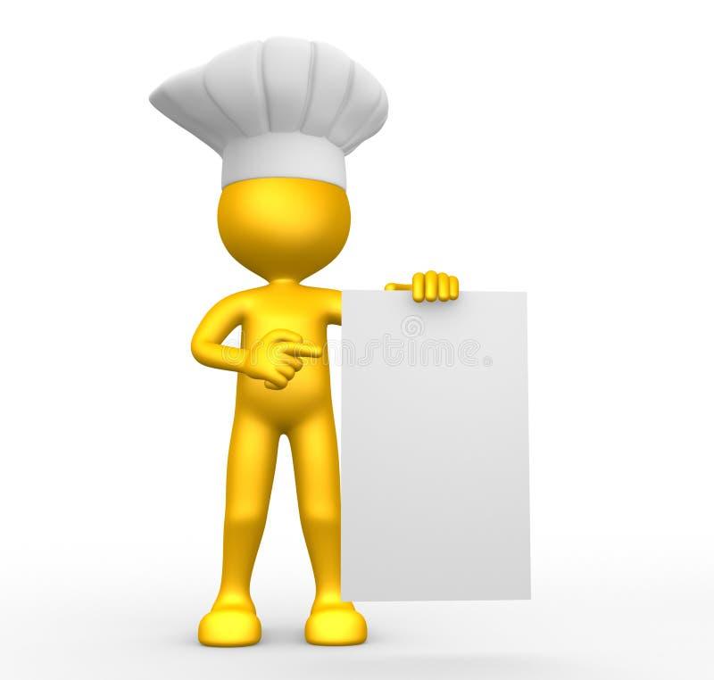 3d mężczyzna, osoba i pusty papier. Szef kuchni ilustracji