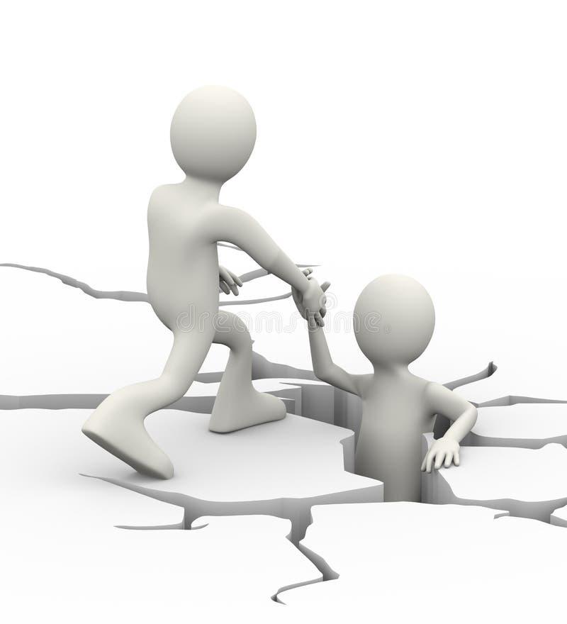 3d mężczyzna osoby pomaga oklepiec w krakingowej ziemi ilustracja wektor