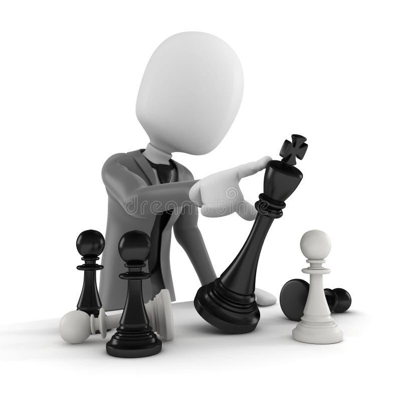 3d mężczyzna pcha szachową postać ilustracja wektor