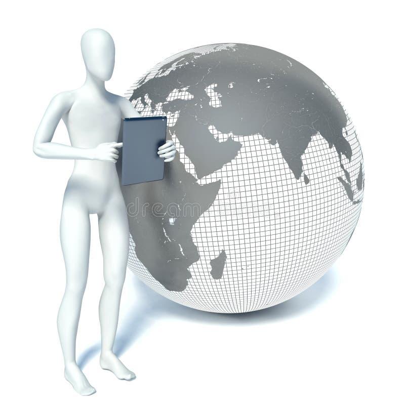 3d mężczyzna pozycja z pastylka komputerem osobistym blisko planety royalty ilustracja