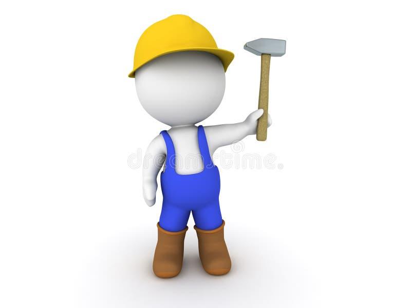 3D mężczyzna pracownik z młotem ilustracja wektor