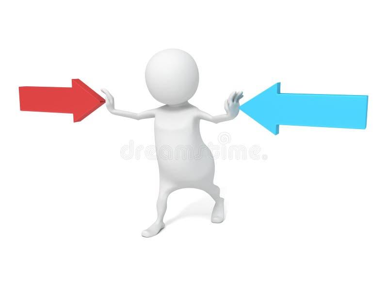 3d mężczyzna przerwy pojęcia strzała wskazuje w opposite kierunkach ilustracja wektor