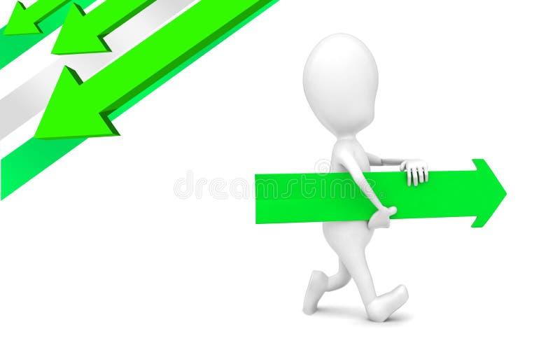 3d mężczyzna przewożenie i odprowadzenie strzała w ręki pojęciu ilustracja wektor