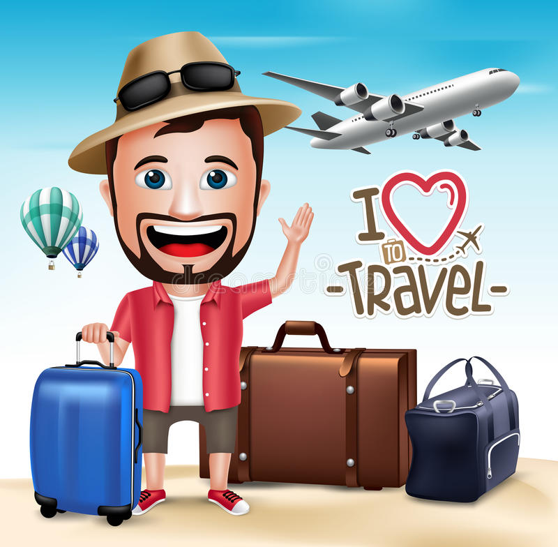 3D mężczyzna Realistyczny Turystyczny charakter Jest ubranym lato strój royalty ilustracja
