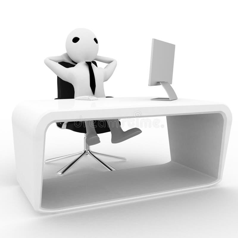 3d mężczyzna relaksuje w biurze na krześle z LCD monitoru ekranem na stołowej ilustraci royalty ilustracja