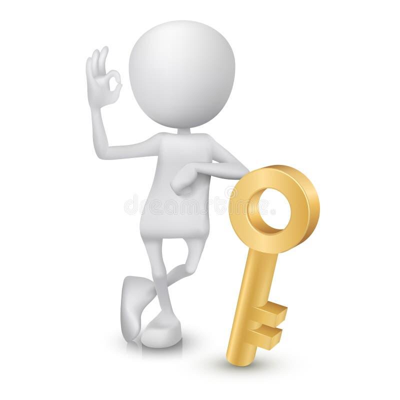 3d mężczyzna seansu ok ręki znak z złotym kluczem ilustracja wektor