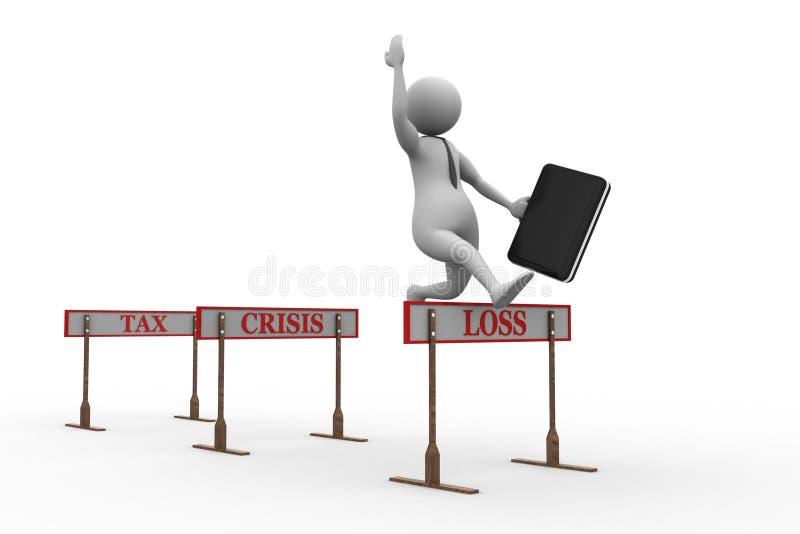 3d mężczyzna skacze nad przeszkody przeszkodą tytułował podatek, kryzys, strata ilustracji