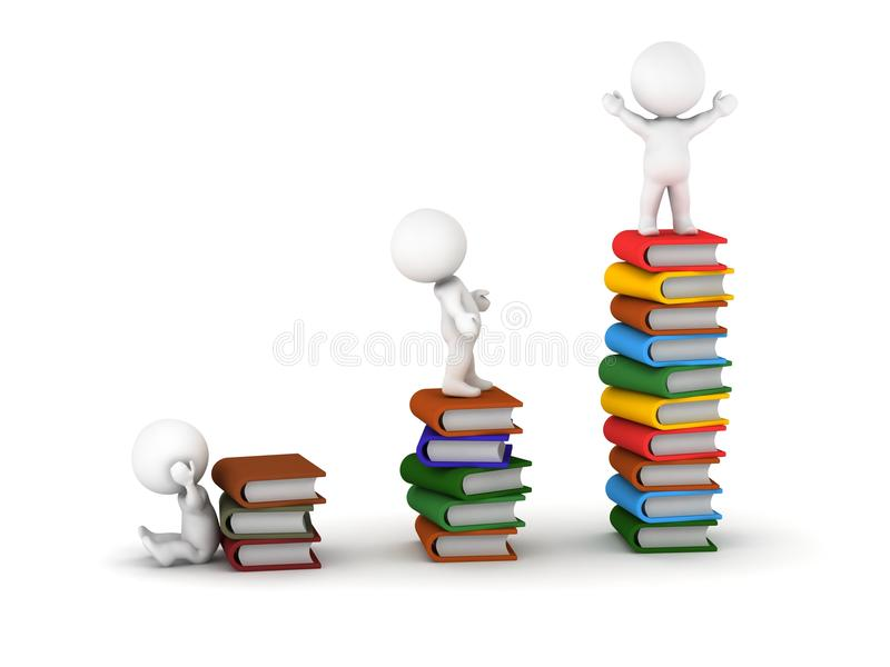 3D mężczyzna Stoi na stertach książki ilustracja wektor
