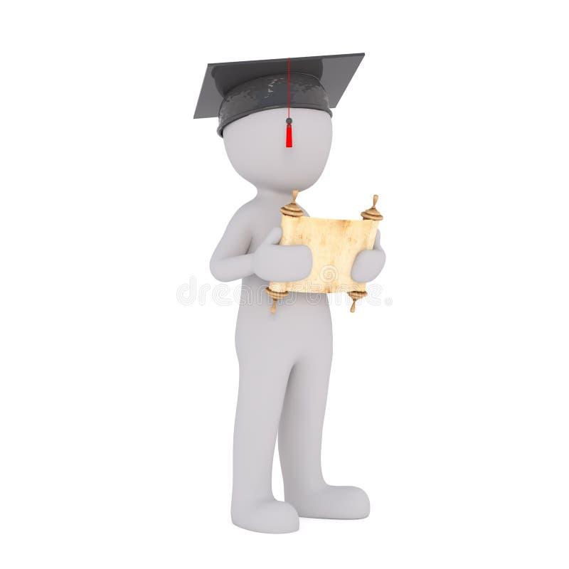 3d mężczyzna trzyma jego dyplom przy skalowaniem royalty ilustracja