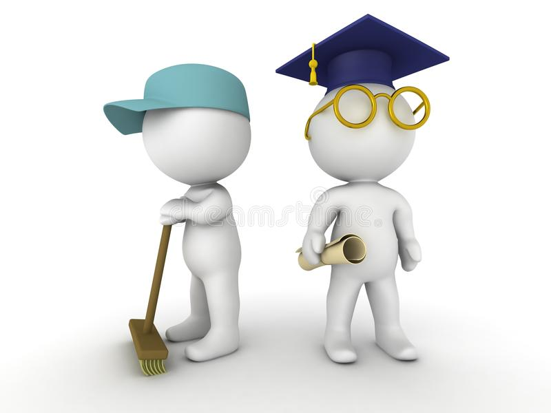 3D mężczyzna ubierali jako janitor jak absolwent i ilustracja wektor