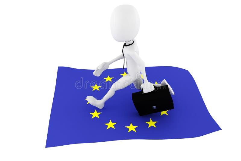 3d mężczyzna UE flaga biznesu pojęcie ilustracja wektor