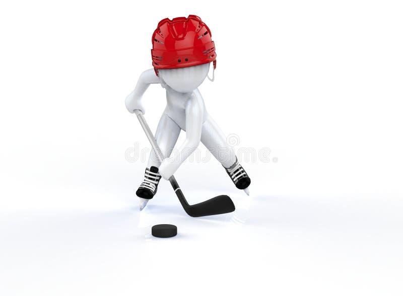 3d mężczyzna w czerwonych hokejowych hełmach, jeździć na łyżwach na białym tle. royalty ilustracja