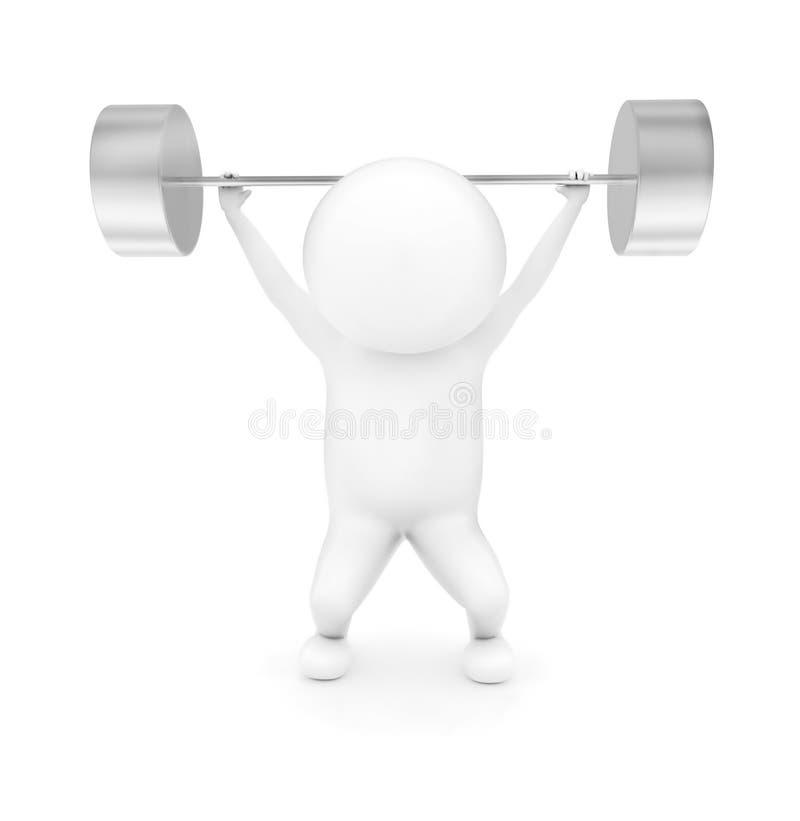 3d mężczyzna weightlifting royalty ilustracja