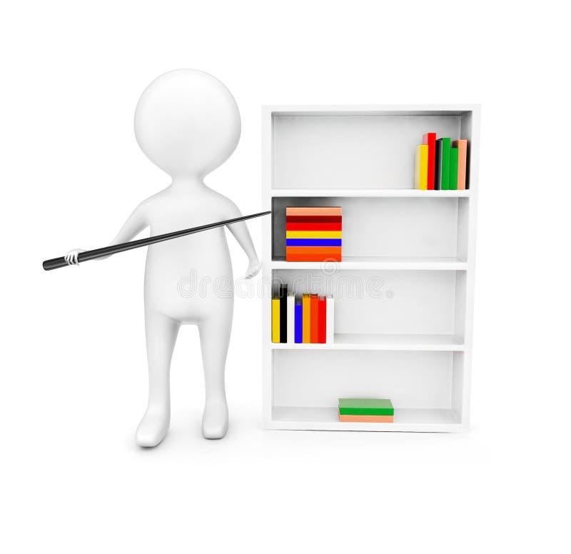 3d mężczyzna wskazuje kij w kierunku książkowej półki składać się z książki pojęcie ilustracji