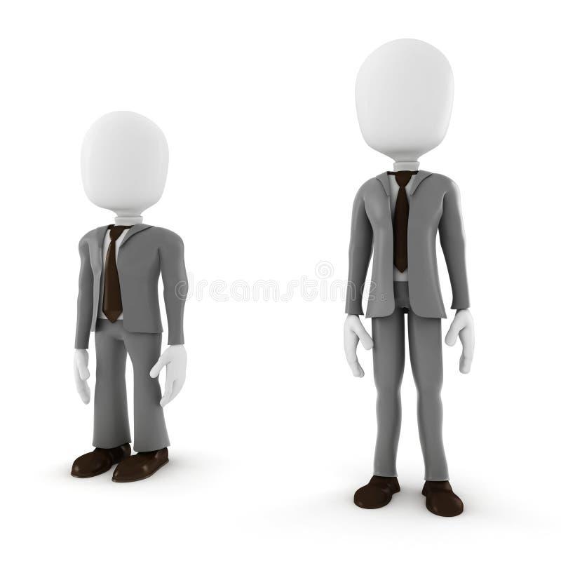 3d mężczyzna wysoki i krótki biznesmen royalty ilustracja