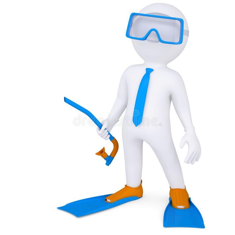 3d mężczyzna z flippers i maskowy podwodnym ilustracja wektor