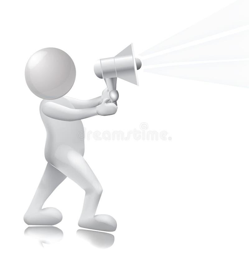 3D mężczyzna z megafonem ludzie ilustracji