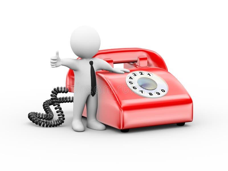 Download 3d Mężczyzna Z Obrotowym Telefonu Kciukiem Up Ilustracji - Ilustracja złożonej z kabel, dzwon: 57659226