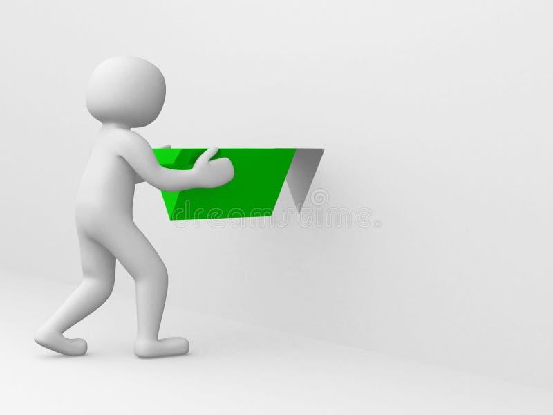 3d mężczyzna z zielonym trójbokiem ilustracja wektor