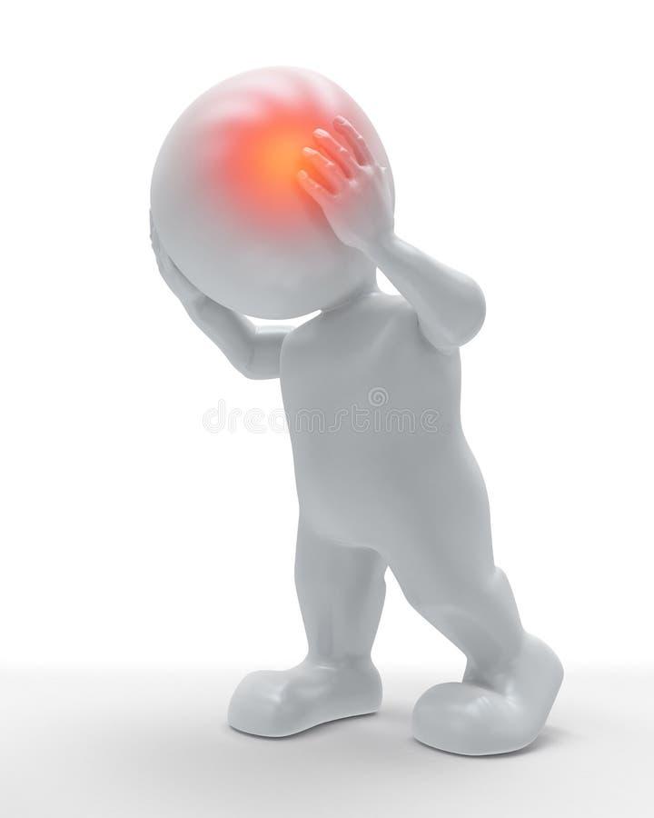 3D męska postać z głową podkreślającą w bólu royalty ilustracja