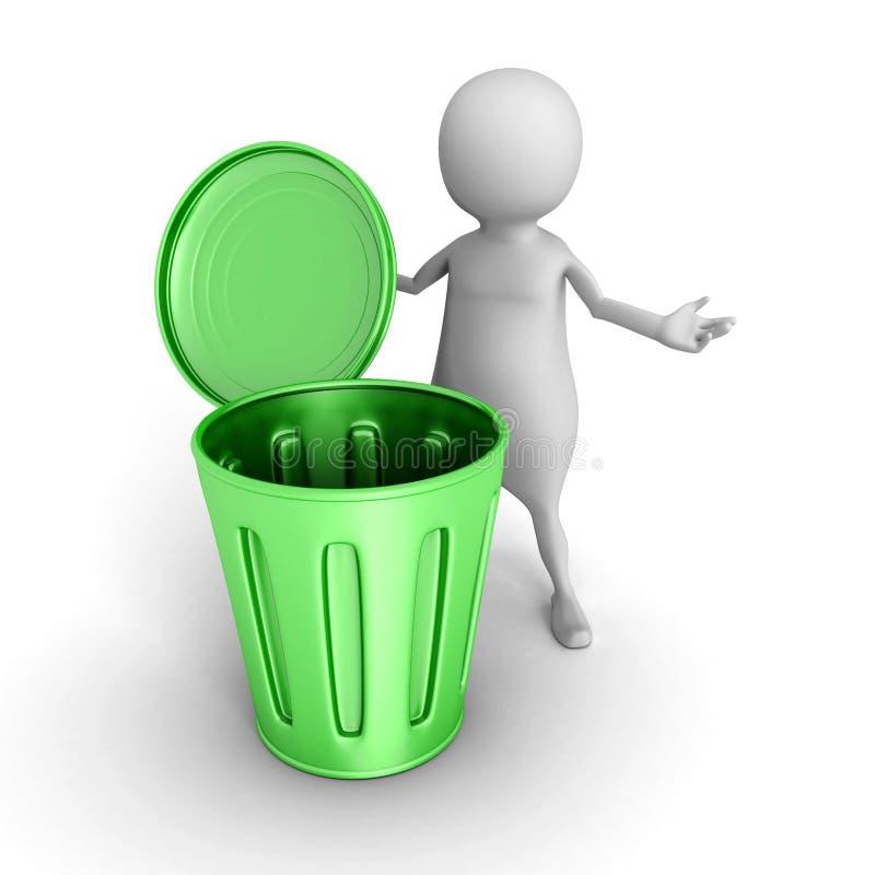 3d mała osoba z zielonym kubeł na śmieci ilustracji