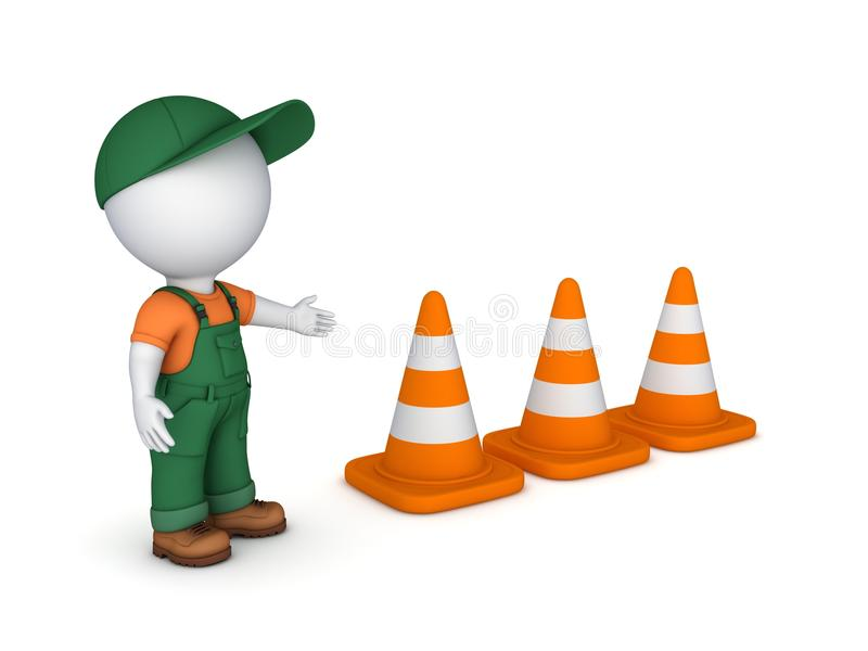 3d małej osoby i ruchu drogowego rożki ilustracji