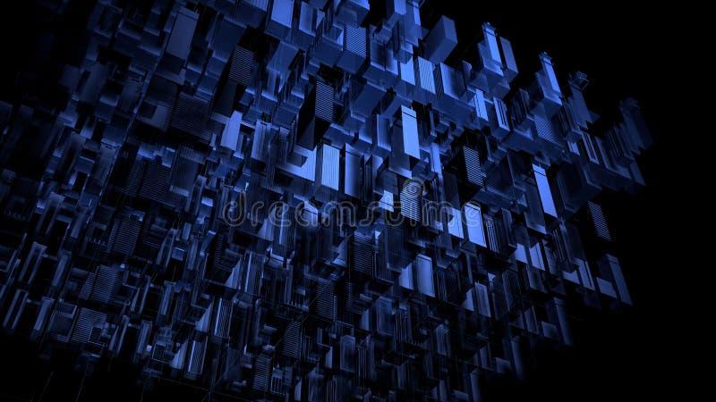 3D maak drie-Afmeting blauwe digitale matrijsstad vector illustratie