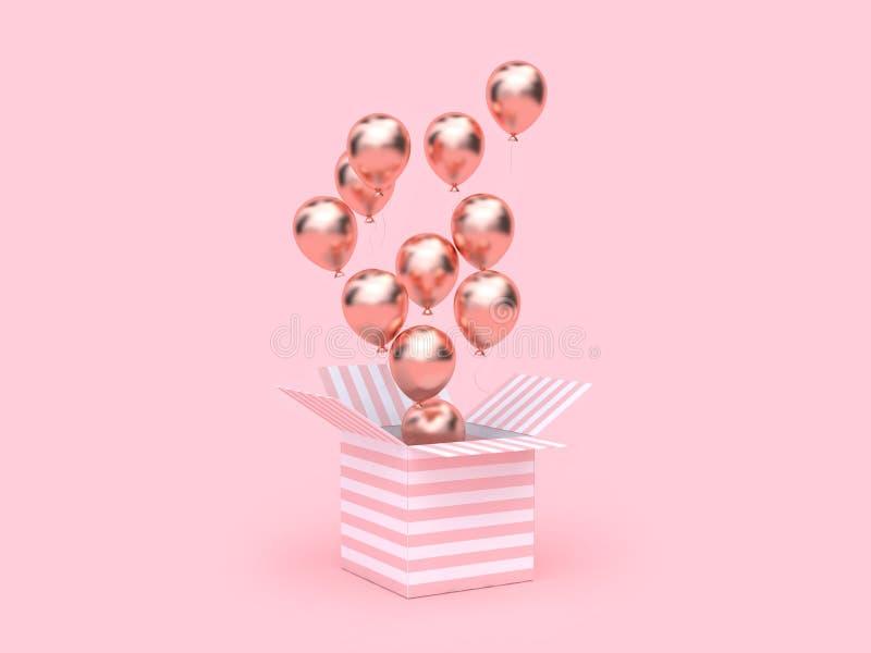 3d maak roze witte doos open toenam gouden metaalballon die minimale roze achtergrond drijven vector illustratie