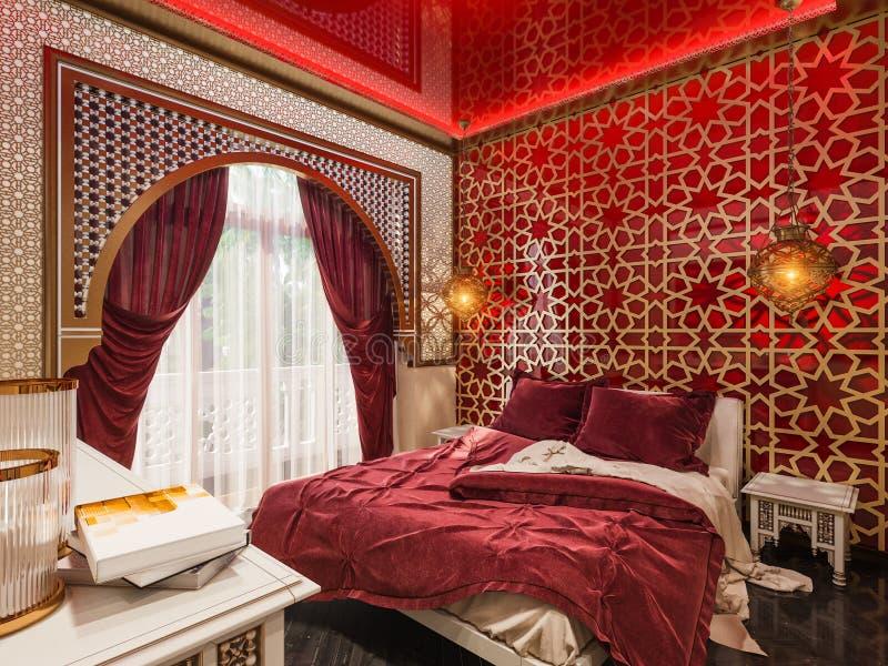 3d maak slaapkamer Islamitische stijl binnenlands ontwerp stock fotografie