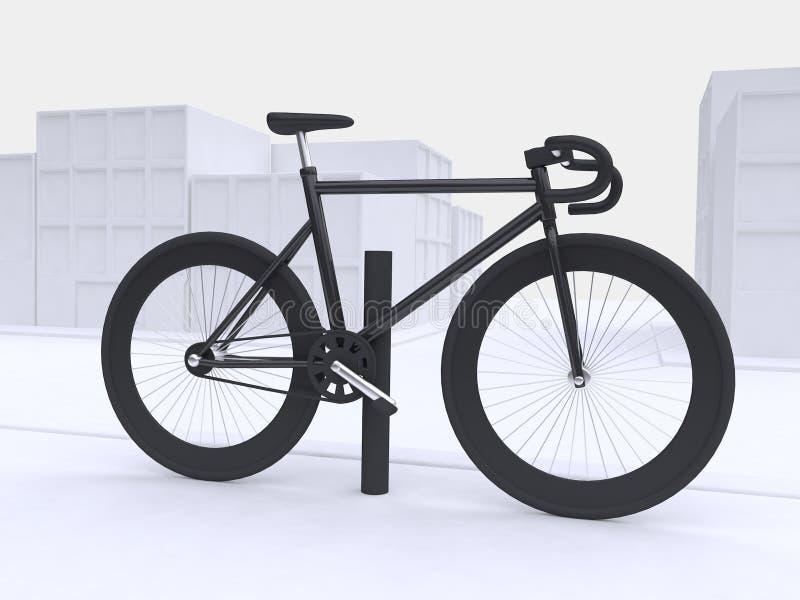 3d maak zwarte fiets witte abstracte stadsachtergrond, vervoer-gaan-training concept vector illustratie