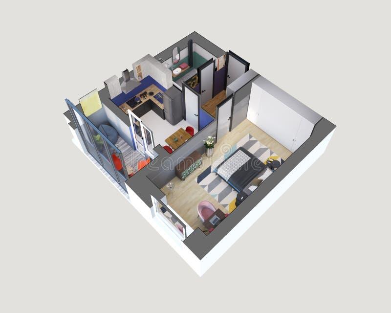 3d machen den Plan und Plan einer modernen bunten Schlafzimmerwohnung, isometrisch stock abbildung