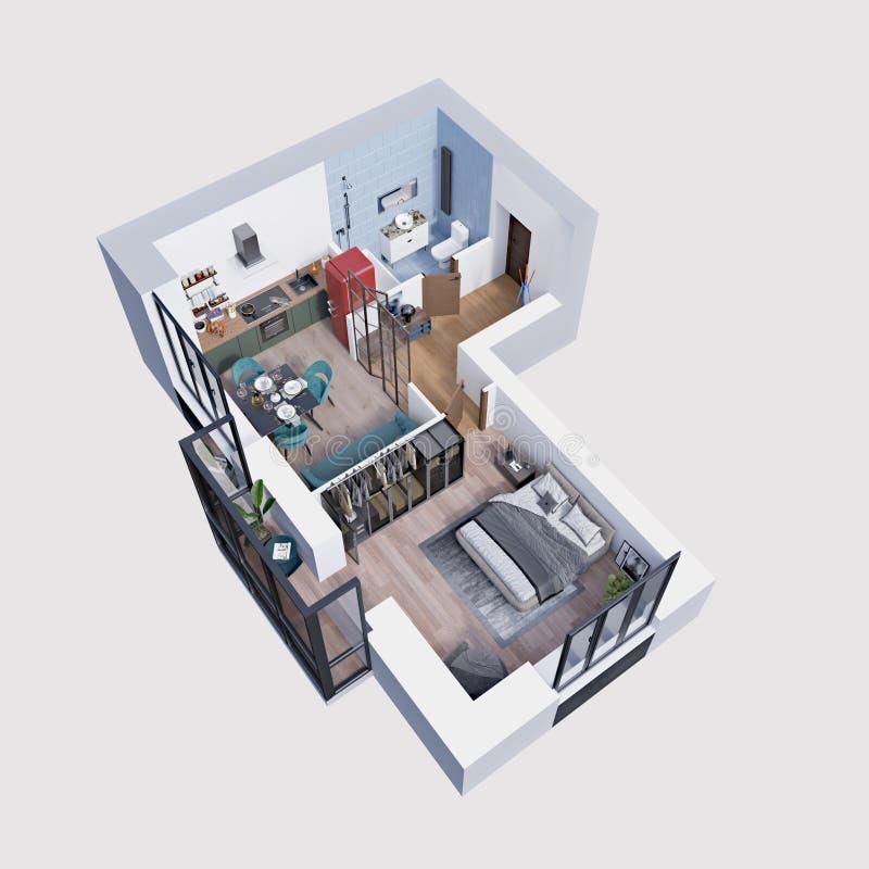 3d machen den Plan und Plan einer modernen Wohnung, isometrisch vektor abbildung