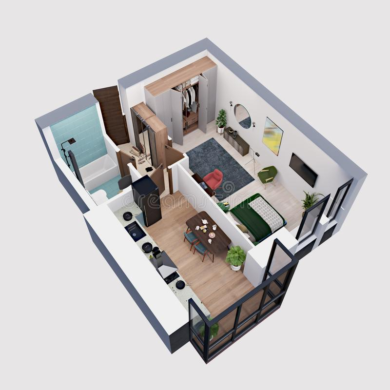 3d machen den Plan und Plan einer modernen Wohnung, isometrisch lizenzfreie abbildung