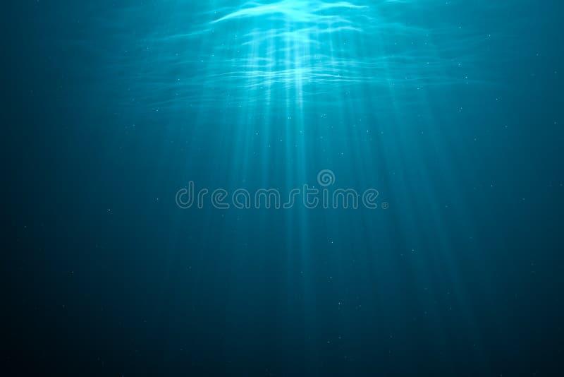 3D machte Illustration von hellen Strahlen Unterwasser stock abbildung