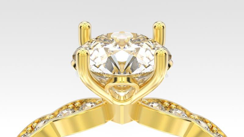 3D macro gele gouden ring van het illustratiegezoem met diamanten vector illustratie
