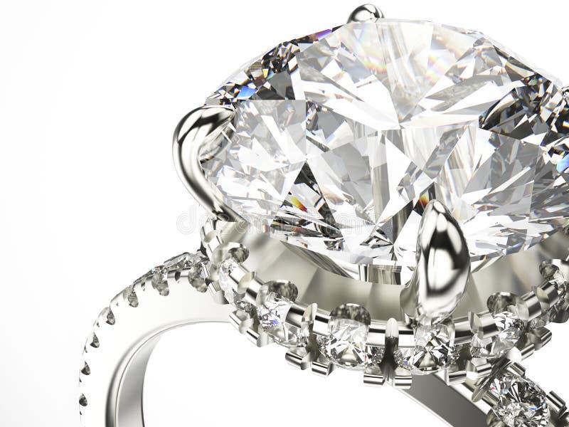 3D macro gouden zilveren ring van het illustratiegezoem met diamanten royalty-vrije illustratie